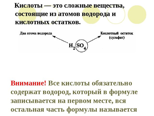Внимание! Все кислоты обязательно содержат водород, который в формуле записыв...