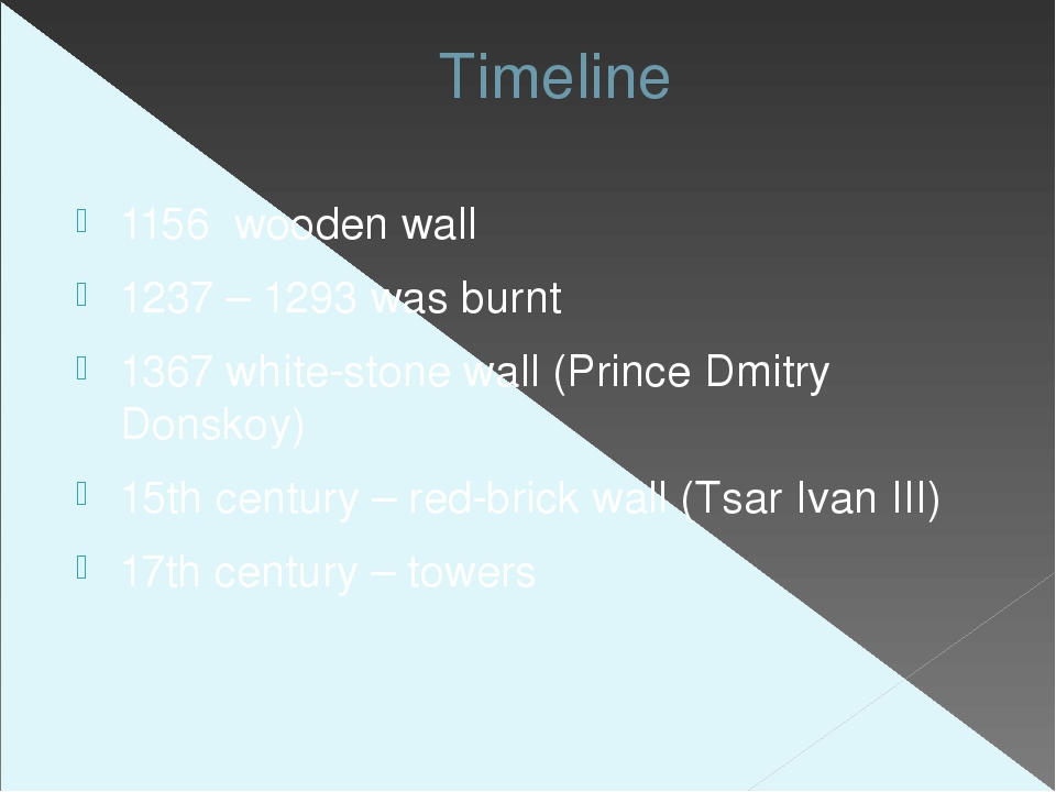Timeline 1156 wooden wall 1237 – 1293 was burnt 1367 white-stone wall (Prince...
