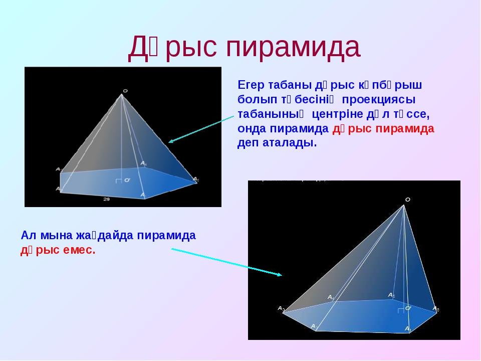 Дұрыс пирамида Егер табаны дұрыс көпбұрыш болып төбесінің проекциясы табанын...