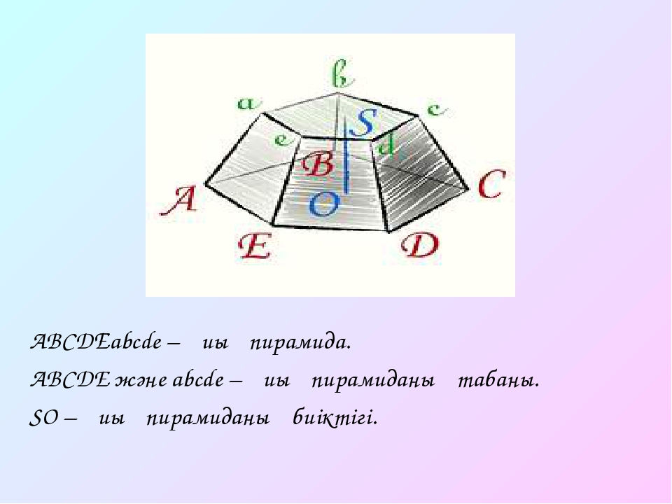 ABCDЕabcde – қиық пирамида. ABCDE және abcde – қиық пирамиданың табаны. SO –...