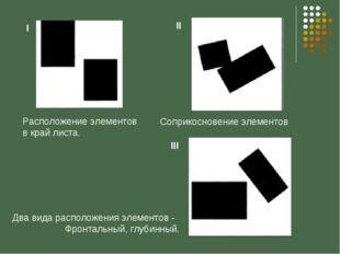 Расположение элементов в край листа. Соприкосновение элементов Два вида распо