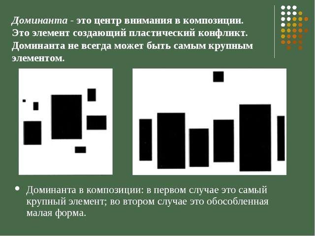 Доминанта в композиции: в первом случае это самый крупный элемент; во втором...