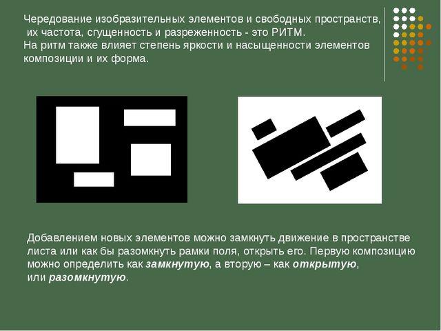 Чередование изобразительных элементов и свободных пространств, их частота, сг...