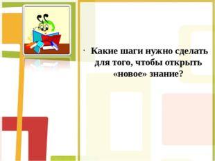 Какие шаги нужно сделать для того, чтобы открыть «новое» знание?
