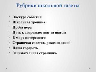 Рубрики школьной газеты Экскурс событий Школьная хроника Проба пера Путь к зд