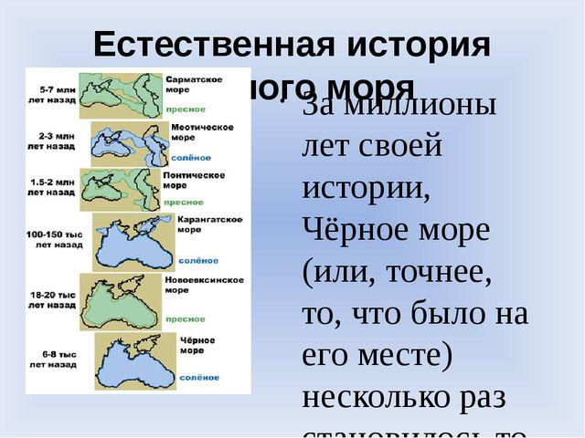 Естественная история Черного моря За миллионы лет своей истории, Чёрное море...