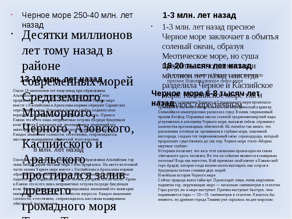 Черное море 250-40 млн. лет назад Десятки миллионов лет тому назад в районе с...