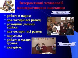 Інтерактивні технології кооперативного навчання робота в парах; два-чотири-вс