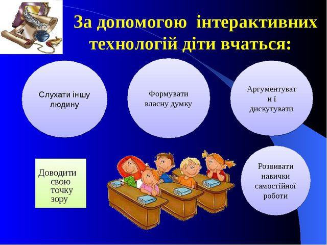 За допомогою інтерактивних технологій діти вчаться: Доводити свою точку зору...