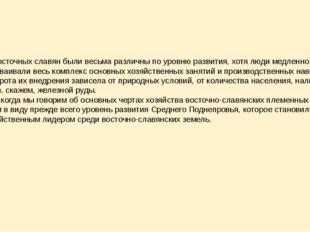 Земли восточных славян были весьма различны по уровню развития, хотя люди мед
