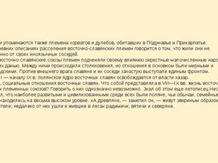 В летописи упоминаются также племена хорватов и дулебов, обитавших в Подунавь