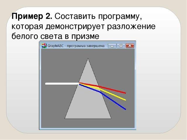 Пример 2. Составить программу, которая демонстрирует разложение белого света...
