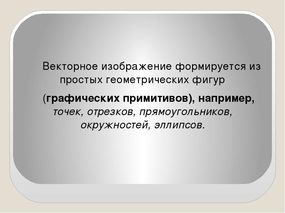 Векторное изображение формируется из простых геометрических фигур (графическ...
