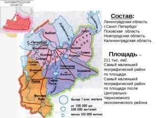 Состав: Ленинградская область г.Санкт-Петербург Псковская область Новгородск