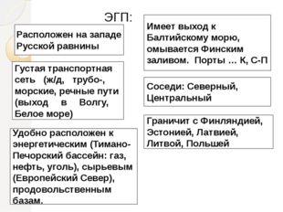 ЭГП: Расположен на западе Русской равнины Имеет выход к Балтийскому морю, ом