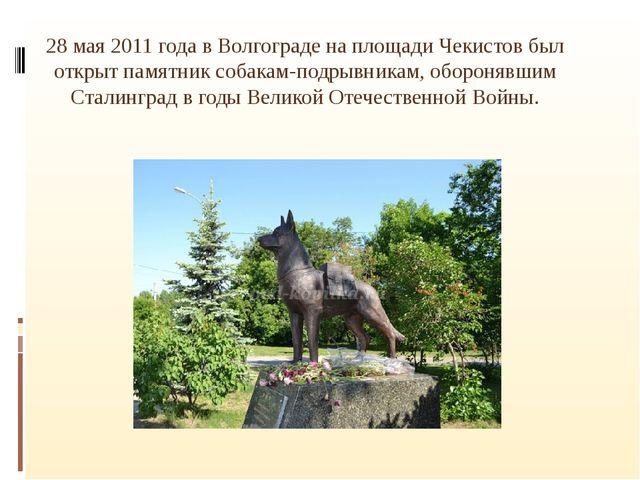 28 мая 2011 года в Волгограде на площади Чекистов был открыт памятник собака...