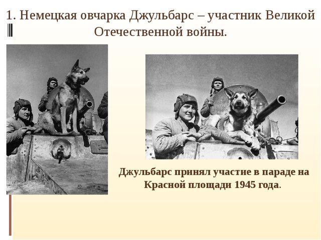 1.Немецкая овчарка Джульбарс– участник Великой Отечественной войны. . Джуль...