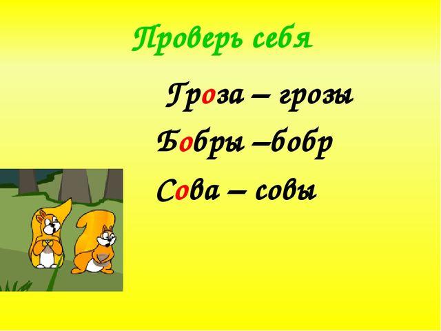 Проверь себя Гроза – грозы Бобры –бобр Сова – совы
