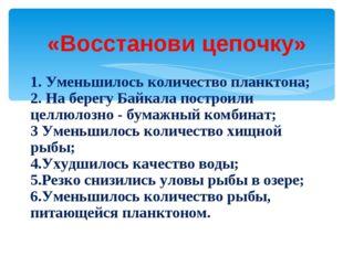 «Восстанови цепочку» 1. Уменьшилось количество планктона; 2. На берегу Байкал