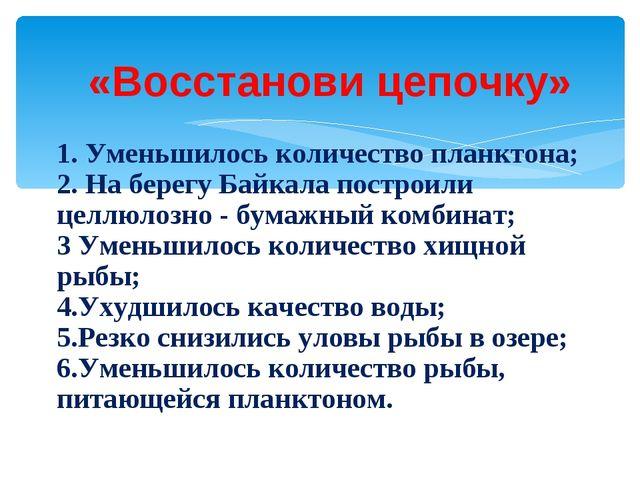 «Восстанови цепочку» 1. Уменьшилось количество планктона; 2. На берегу Байкал...