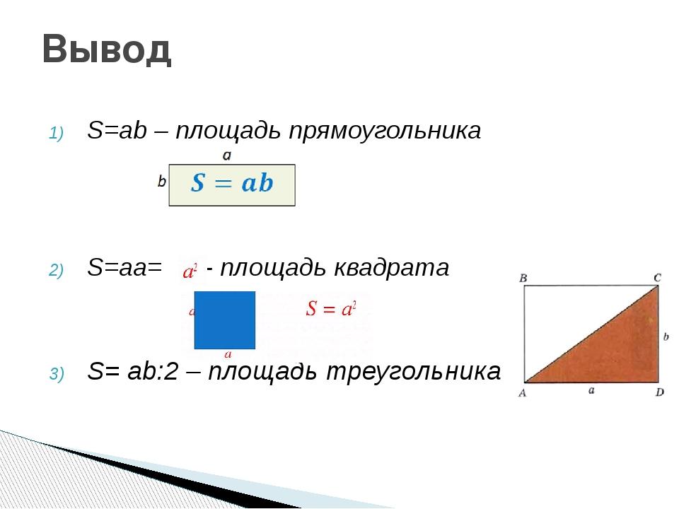 S=ab – площадь прямоугольника S=aa= - площадь квадрата S= ab:2 – площадь треу...