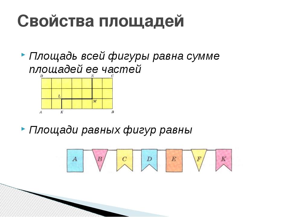 Площадь всей фигуры равна сумме площадей ее частей Площади равных фигур равны...