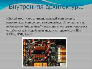 Внутренняя архитектура: Микропроцессорный комплект (чипсет) – набор микросхем