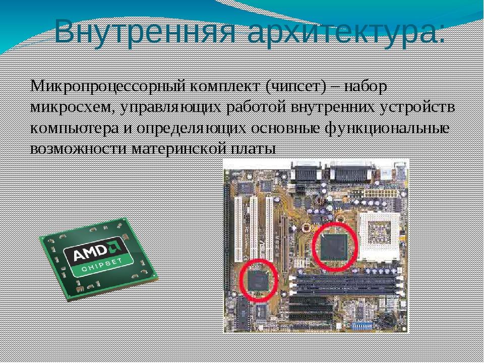Внутренняя архитектура: Оперативная память – набор микросхем, предназначенных...