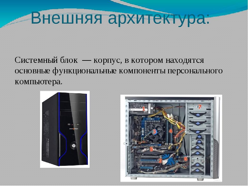 Внешняя архитектура: Монитор — этоустройствокомпьютерноговывода предназнач...
