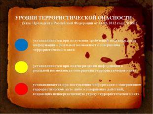 УРОВНИ ТЕРРОРИСТИЧЕСКОЙ ОПАСНОСТИ (Указ Президента Российской Федерации от 14
