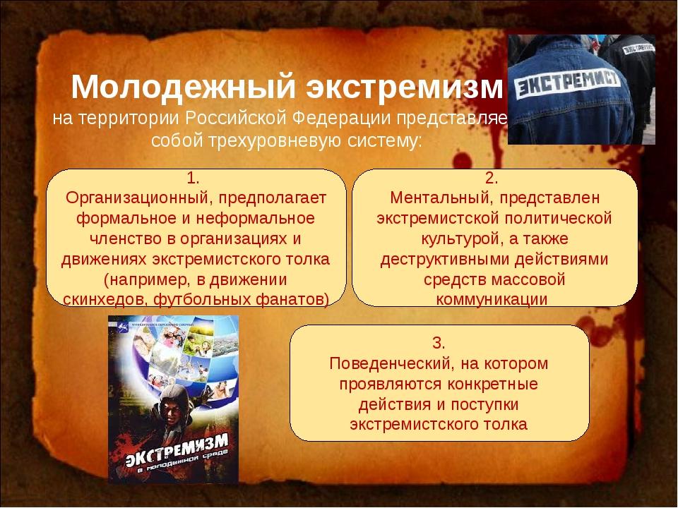 Молодежный экстремизм на территории Российской Федерации представляет собой т...