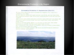 Environmental Problems in My Region