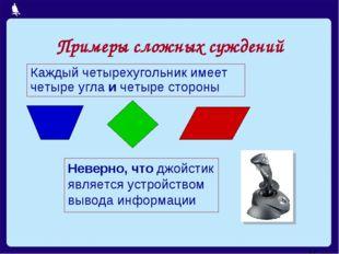 Примеры сложных суждений Каждый четырехугольник имеет четыре угла и четыре ст