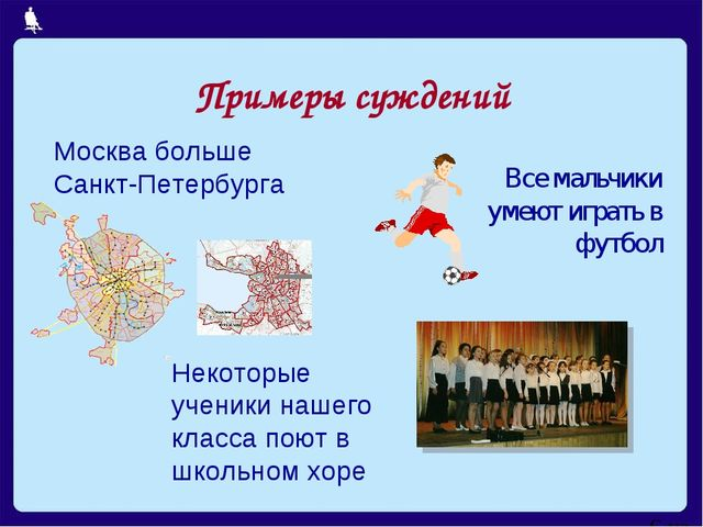 Примеры суждений Москва больше Санкт-Петербурга Все мальчики умеют играть в ф...