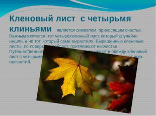 Кленовый лист с четырьмя клиньями является символом, приносящим счастье. Важн
