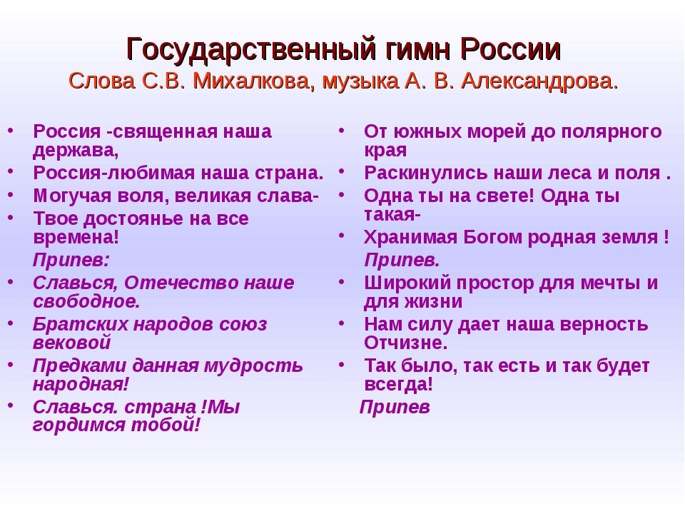 Государственный гимн России Слова С.В. Михалкова, музыка А. В. Александрова....