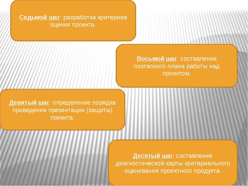 Седьмой шаг: разработка критериев оценки проекта. Восьмой шаг: составление по...