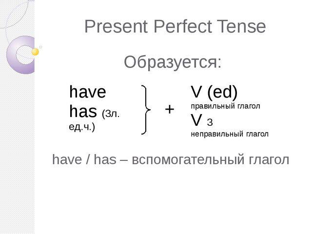 Present Perfect Tense Образуется: have / has – вспомогательный глагол have ha...