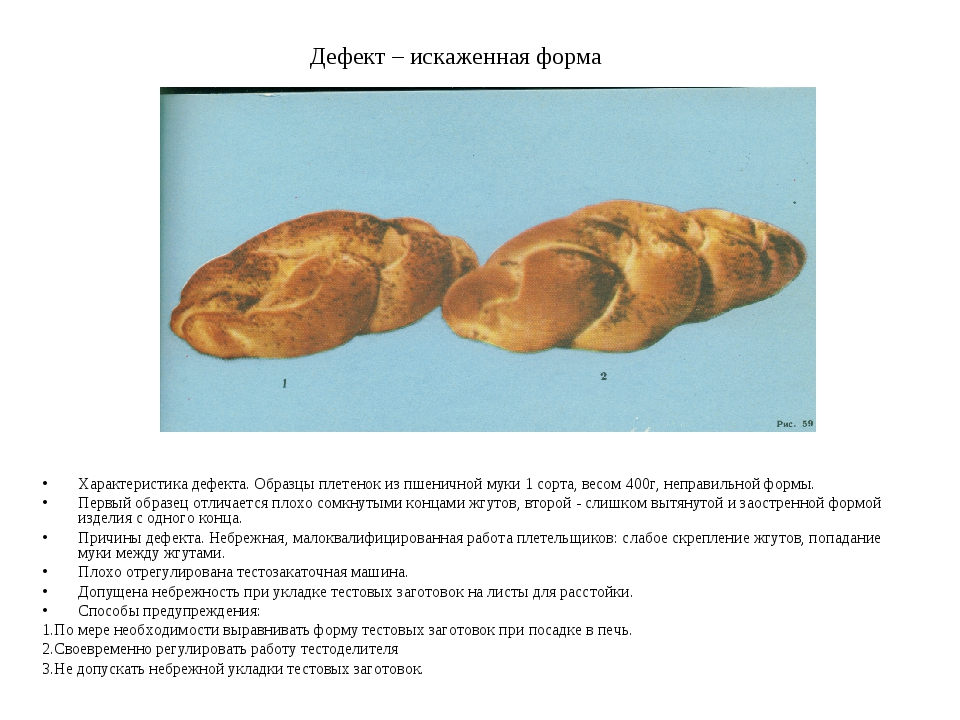 Дефект – искаженная форма Характеристика дефекта. Образцы плетенок из пшеничн...