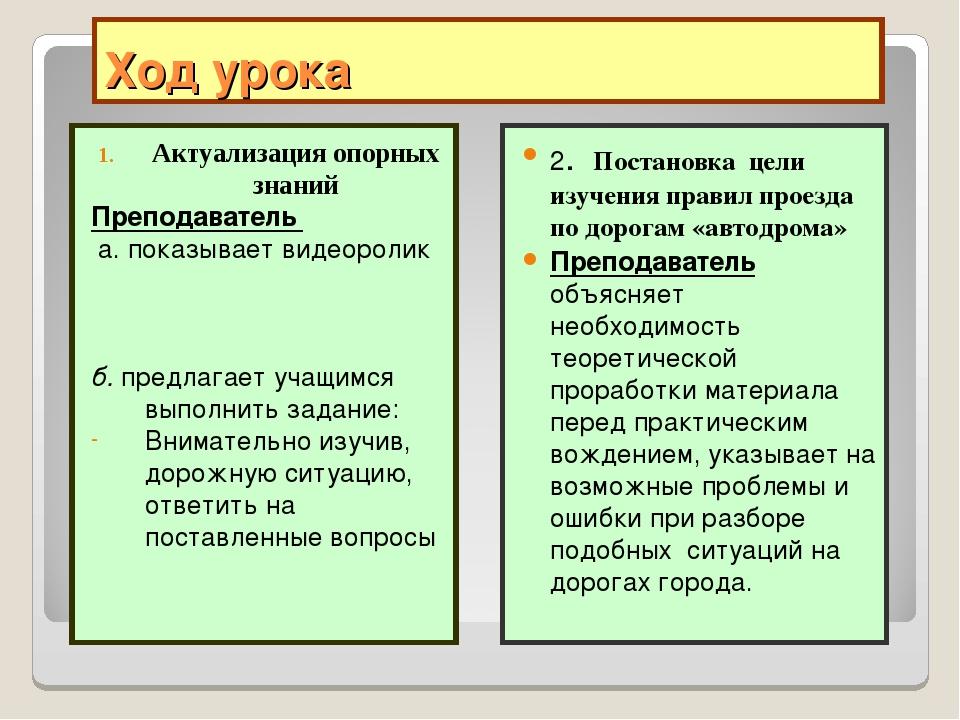 Ход урока Актуализация опорных знаний Преподаватель а. показывает видеоролик...