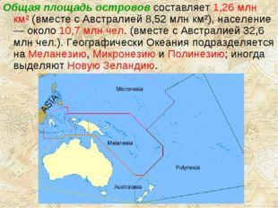Общая площадь островов составляет 1,26 млн км² (вместе с Австралией 8,52 млн