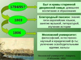 Московский университет. Акварель И.Мошкова. 1802 1794/95? 1803 1806 Быт и н