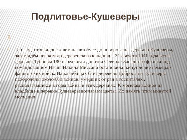 Подлитовье-Кушеверы Из Подлитовья доезжаем на автобусе до поворота на деревн...
