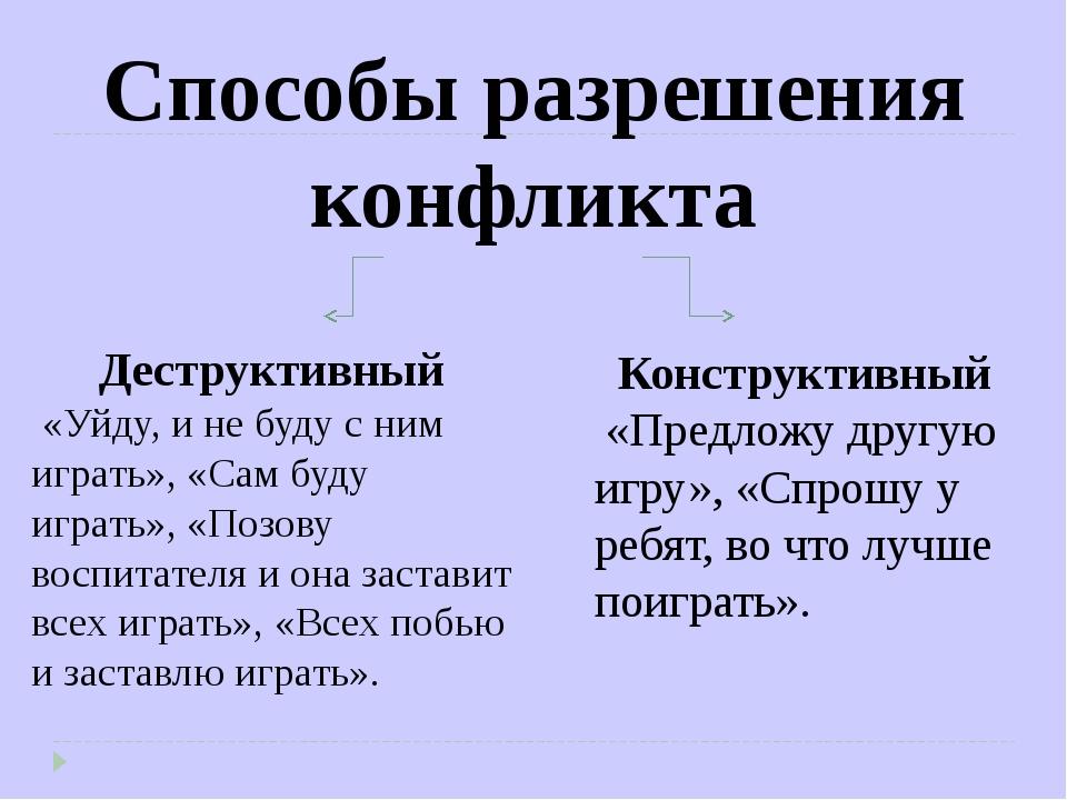 Способы разрешения конфликта Деструктивный «Уйду, и не буду с ним играть», «С...