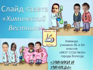 Команда учеников 8Б и 8А классов «МОУ СОШ №16» города Вологда «УМНИКИ И УМНИЦЫ»