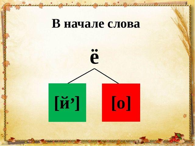 ё В начале слова [й ] , [о]