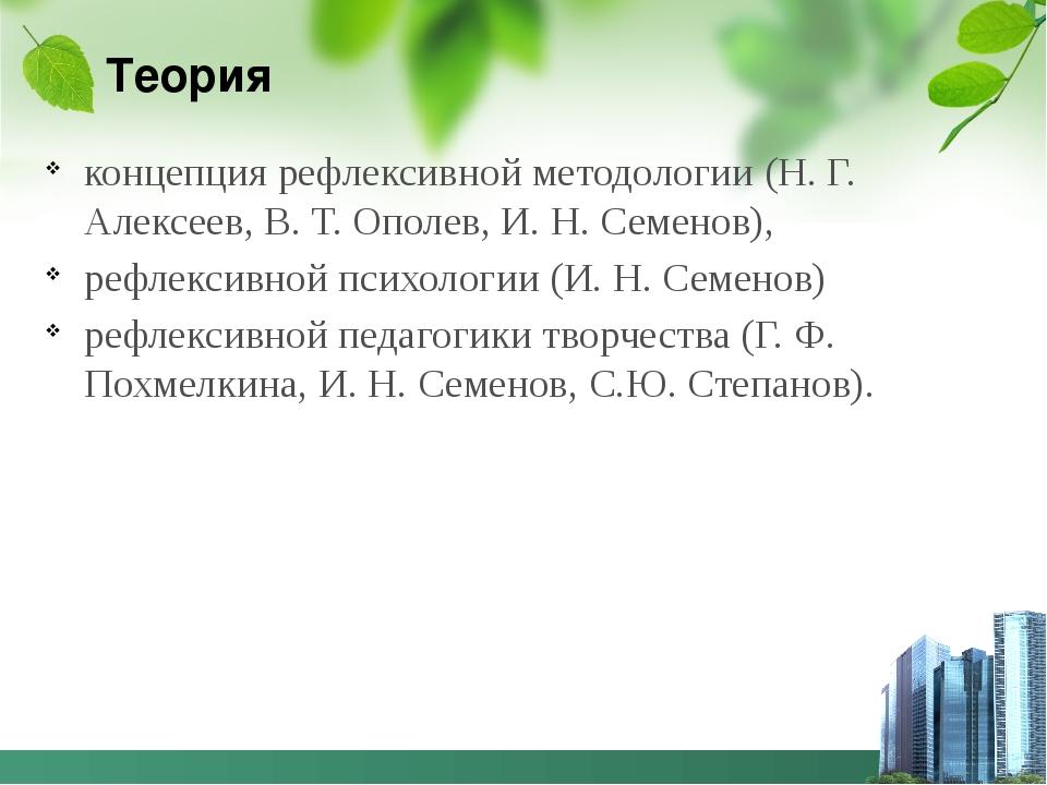 Теория концепция рефлексивной методологии (Н. Г. Алексеев, В. Т. Ополев, И. Н...