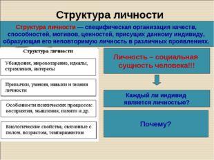 Структура личности Структура личности— специфическая организация качеств, сп