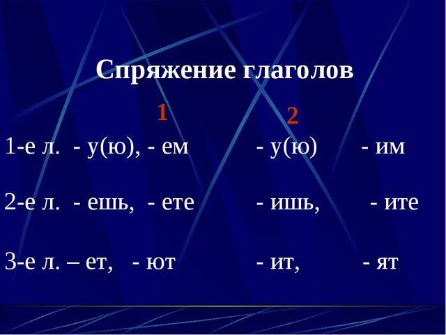 Спряжение глаголов 1 2 1-е л. - у(ю), - ем - у(ю) - им 2-е л. - ешь, - ете -...