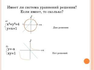 Имеет ли система уравнений решения? Если имеет, то сколько? х²+у²=4 у=х+1 х у